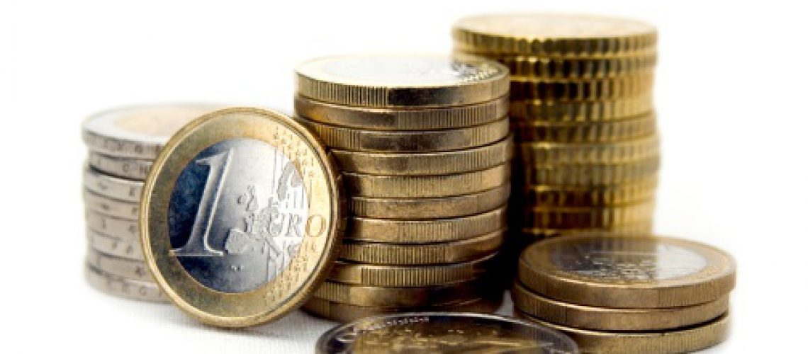 Euro coins isolated on white backgorund. Close-up.